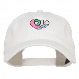 Love Heart Shape Embroidered Washed Cap