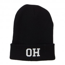 OH Ohio State Embroidered Long Beanie