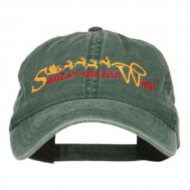 Santa on His Way Embroidered Washed Cap - Dk Green