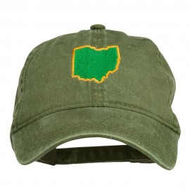 Ohio State Map Embroidered Washed Cotton Cap - Olive Green