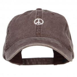 Mini Peace Symbol Embroidered Washed Cap