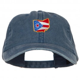 Ohio Map State Flag Embroidered Washed Cap