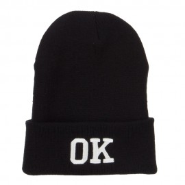 OK Oklahoma State Embroidered Long Beanie