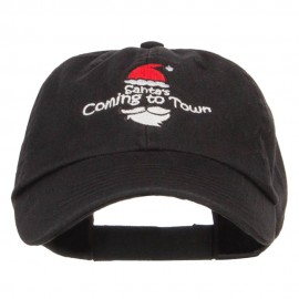 Santa Coming Town Embroidered Low Cap
