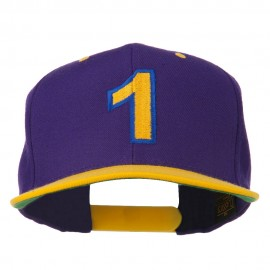 Number 1 Embroidered Classic Two Tone Snapback Cap