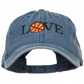 Love with Basketball Embroidered Washed Cotton Cap