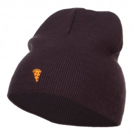 Mini Pizza Embroidered Short Beanie