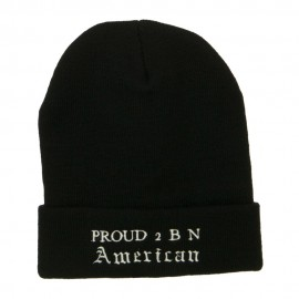 Pround 2 B N American Embroidered Beanie