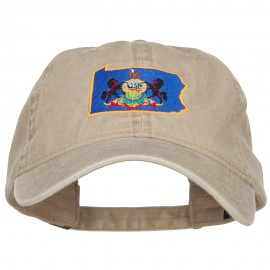 Pennsylvania State Flag Map Embroidered Washed Cap
