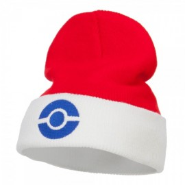 Ash Ketchum Poke Ball Embroidered Cuff Beanie