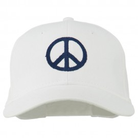 Peace Symbol Embroidered Cotton Twill Cap - White