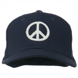 Peace Symbol Embroidered Cotton Twill Cap - Navy