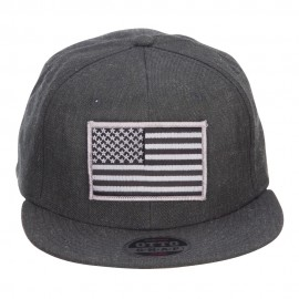 Grey American Flag Patched Wool Blend Snapback