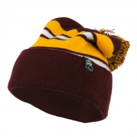 Two Tone Striped Pom Cuff Beanie