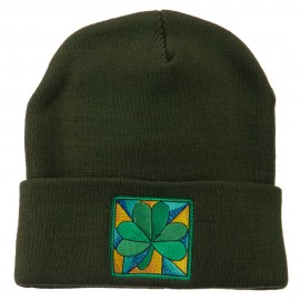 St Patrick's Day Clover Embroidered Long Beanie