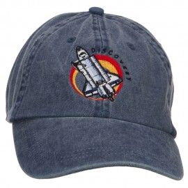 Space Shuttle Discovery Embroidered Washed Cap - Navy