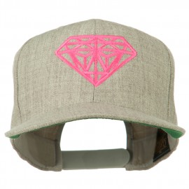 Pink Diamond Outline Embroidered Snapback Cap