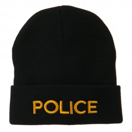 Police Embroidered Long Cuff Beanie