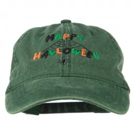 Happy Halloween Spider Webs Embroidered Washed Dyed Cap