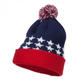 USA Flag Cuffed Pom Beanie