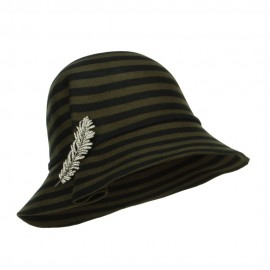 Striped Leaf Pin Floppy Cloche Hat
