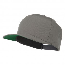 5 Panel Flat Bill Twill Snapback Solid Cap - Dark Grey