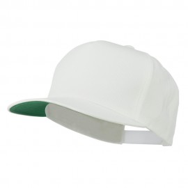5 Panel Flat Bill Twill Snapback Solid Cap - White