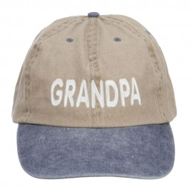 Grandpa Embroidered Big Washed Cap - Khaki Navy
