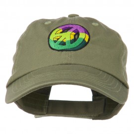 Peace Embroidered Pigment Dyed Cotton Cap