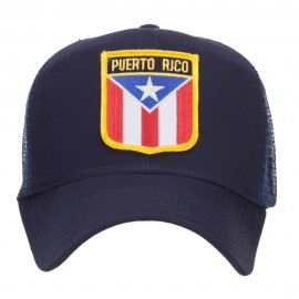 Puerto Rico Flag Shield Patched Mesh Cap - Navy