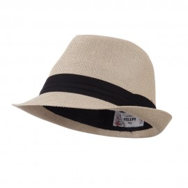 Pleated Hat Band Straw Fedora Hat - Tan