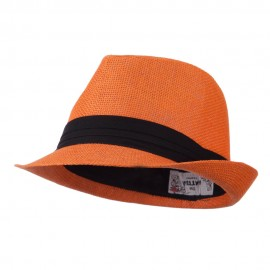 Pleated Hat Band Straw Fedora Hat