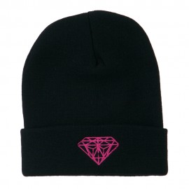 Hot Pink Diamond Embroidered Long Cuff Beanie - Navy