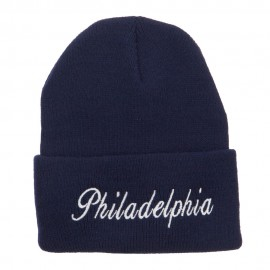 City of Philadelphia Embroidered Long Beanie - Navy