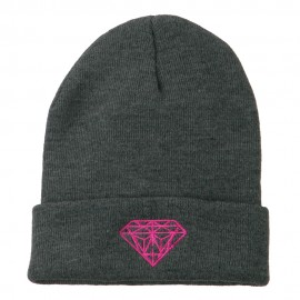 Hot Pink Diamond Embroidered Long Cuff Beanie - Grey