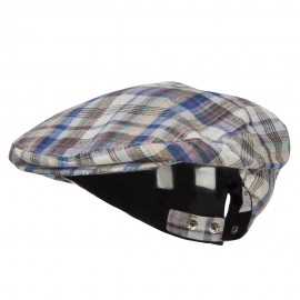 Men's Plaid Linen Snap Button Ivy Cap