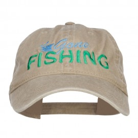 Gone Fishing Embroidered Washed Cap