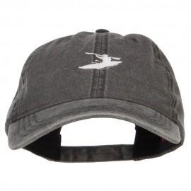 Mini Sports Kayak Embroidered Washed Cap - Black