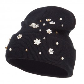 Snowflake Pearls Accented Cuff Beanie