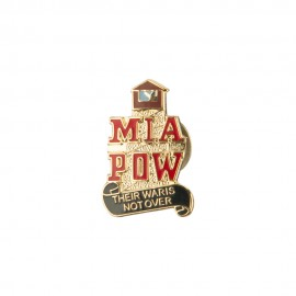 Pow Mia Cloisonne Military Pins - Gold Red