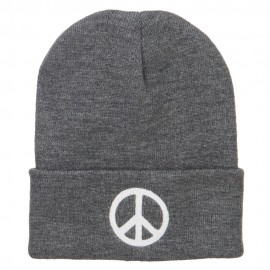 Peace Symbol Embroidered Long Beanie - Grey