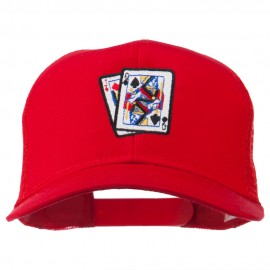 Gaming Pinochle Embroidered Mesh Cap - Red