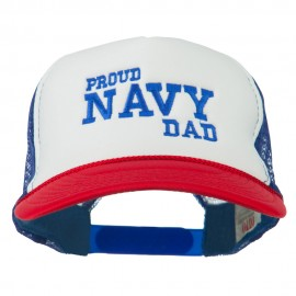 Proud Navy Dad Embroidered Foam Mesh Cap