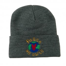 Peace on Earth Embroidered Beanie