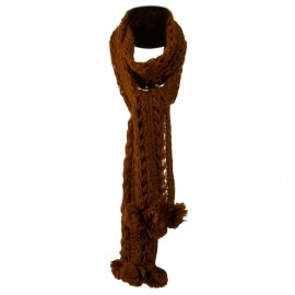 Solid Knit Scarf with Pom Pom