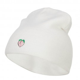 Mini Peach Embroidered Short Beanie
