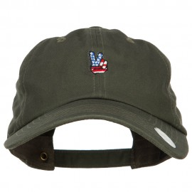 Mini Patriotic Peace Hand Embroidered Unconstructed Cap