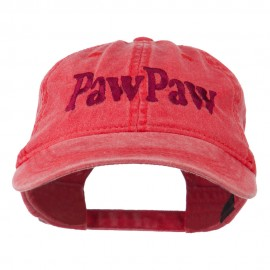 Wording of PawPaw Embroidered Washed Cap - Red