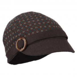 Muffy 6 Panel Round Buckle Cabbie Cap