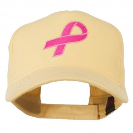 Breast Cancer Hot Pink Ribbon Embroidered 5 Panel Cap